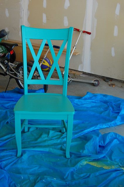turquoise painted chair and desk | Flickr - Photo Sharing!