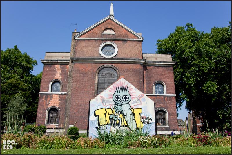 Shoreditch Street Art, Owl mural in Shoreditch Church, London by artist Dscreet