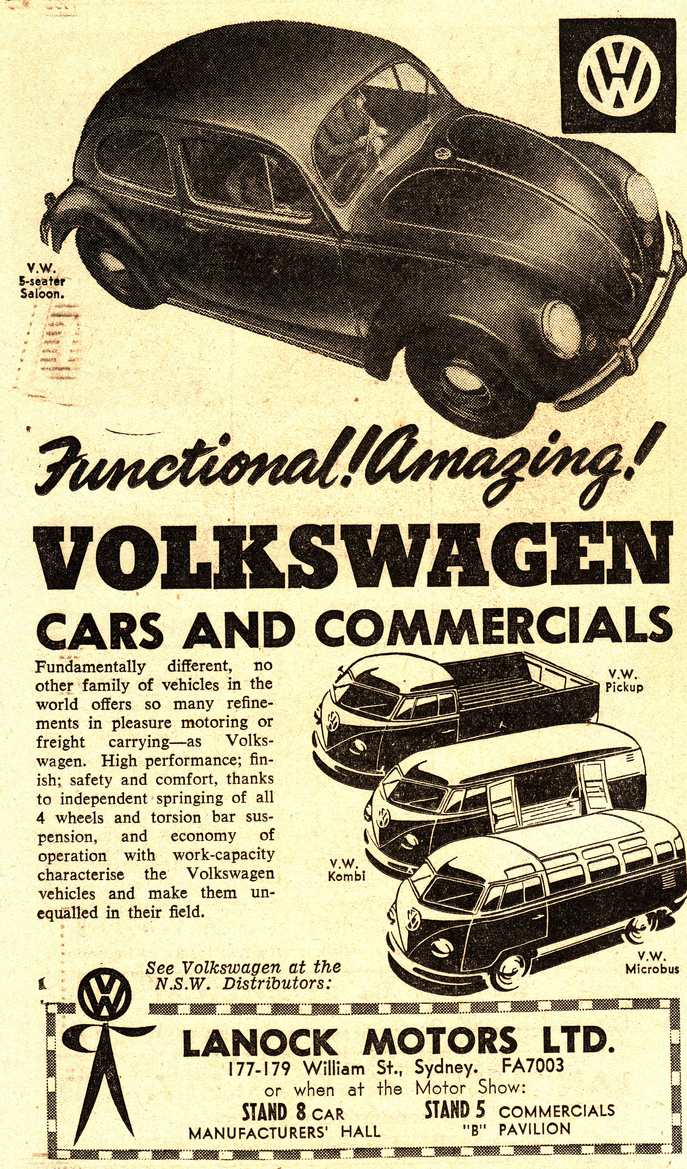 1955 VW Beetle, Ute & Van Ad - Australia | Flickr - Photo Sharing!