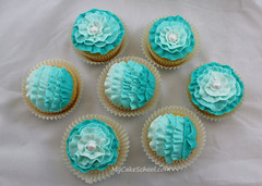 Teal ruffled cupcakes!