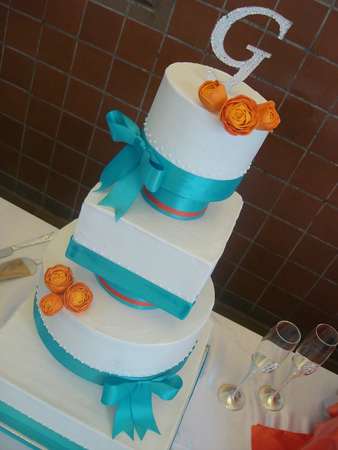 Orange and Aqua Wedding Cake http://www.flickr.com/photos/awebguy/6224624561/
