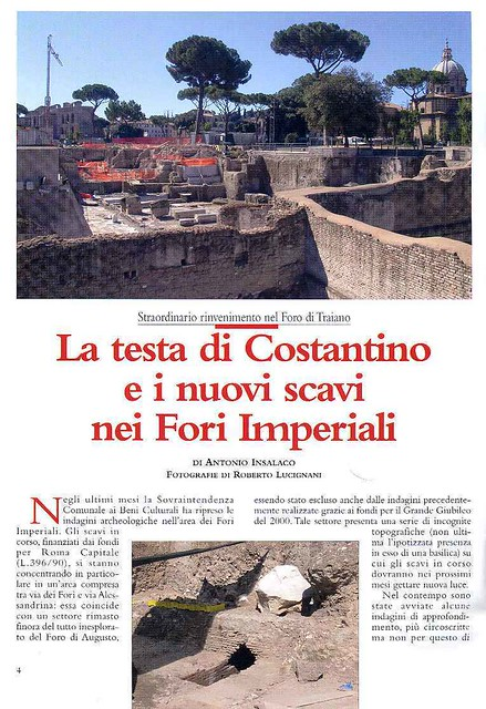 Rome, Forum of Trajan: The Architectural and Sculptural Elements (1998-2008): A. Insalaco, La testa di Constantino e i nouvi scavi Fori Imperiali. FORMA URBIS (No. 9 / Sett. 2005), pp. 4-8 [1/ 5].