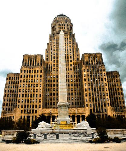 Buffalo City Hall Art Deco Building and President William McKinley Monument on Niagara Square - Buffalo New York