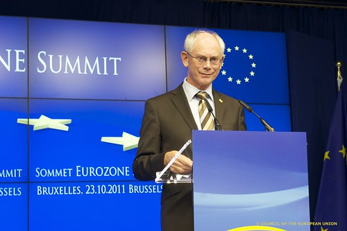 President Van Rompuy addresses to the press conference of the Eurozone Summit, Brussels, 23 October 2011