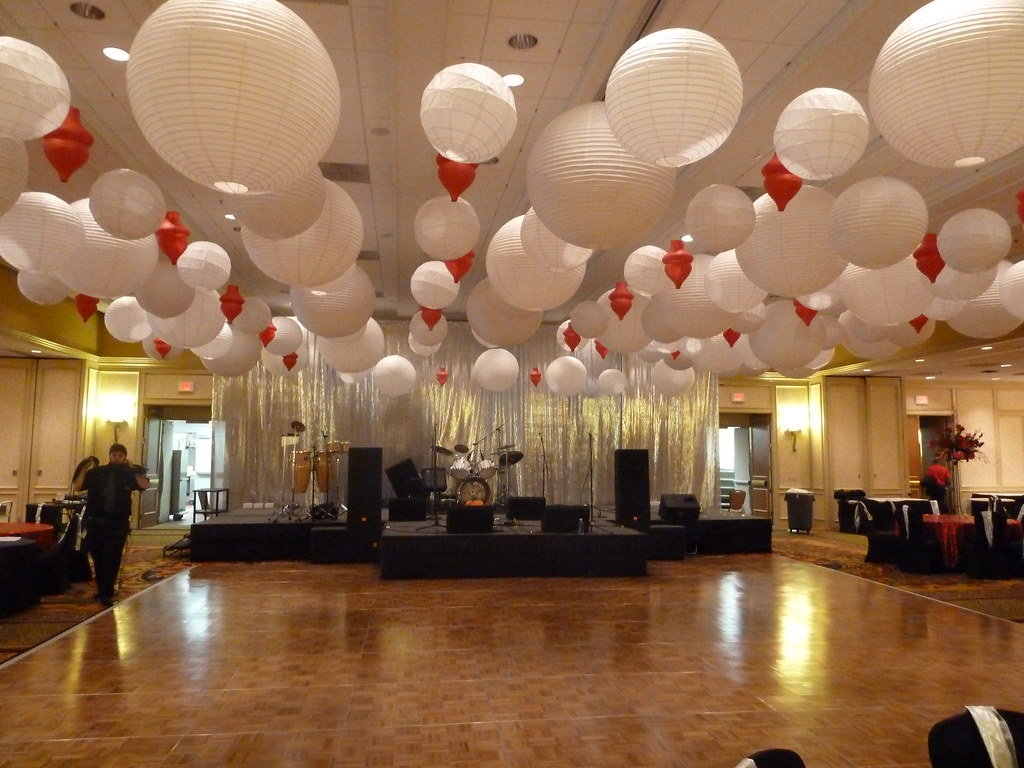 Paper lanterns hanging from the ceiling at at corporate party at the  Marriott in Newton,