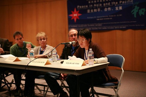 Youn-Ae Pak (far right) is a leading spokesperson for the popular resistance to the construction of a major new, and environmentally catastrophic, military base on Jeju Island in South Korea.