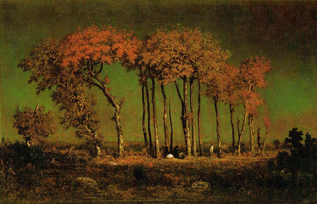 Théodore Rousseau 'Under the Birches, Evening' 1842-43 oil on panel