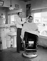 Unidentified Barber and Customer