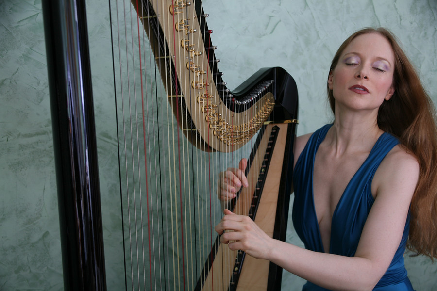 Erin with V'ger, her electric pedal harp | Erin Hill | Flickr