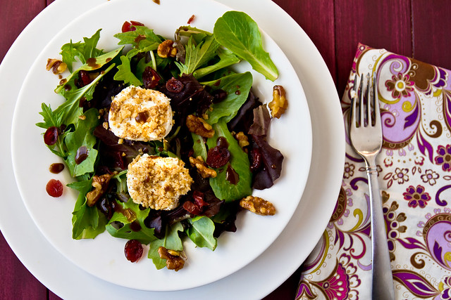 Field Greens with Spiced Walnuts and Goat Cheese