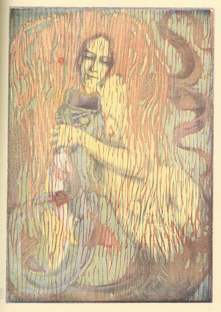Henri Héran. Spielendes Meerweib (Playful Mermaid). Lithography with woodcuts.  Berlin, 1897. Pan. Vol. III, No. 4.