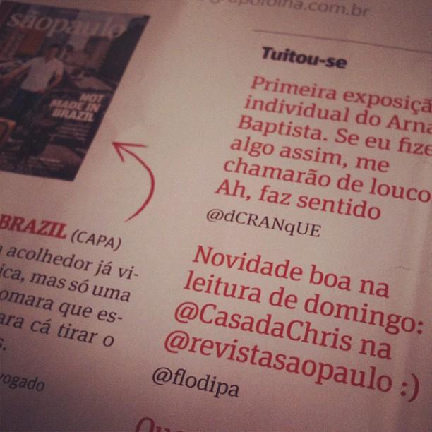 Māe, meu tuite saiu na @revistasaopaulo :D