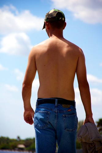 jeans people cap men seawall sky walking hunk shirtless camo male studs clouds hunks canonefs18135mmf3556is ilobsterit stud dude dudes virile manly masculine nipples hairy guy guys man back rearview
