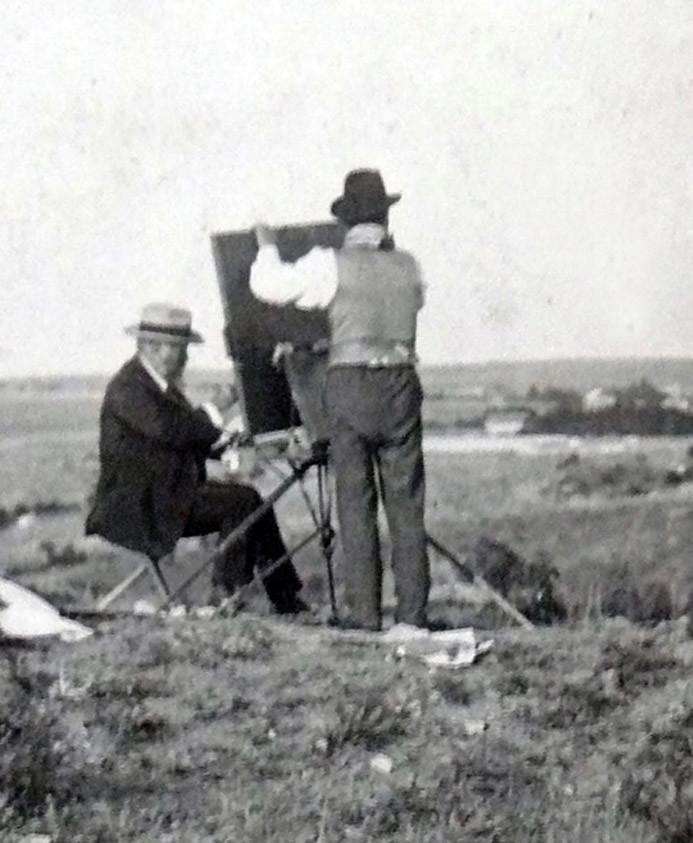 Aureliano de Beruete pintando en Ávila. 1909.