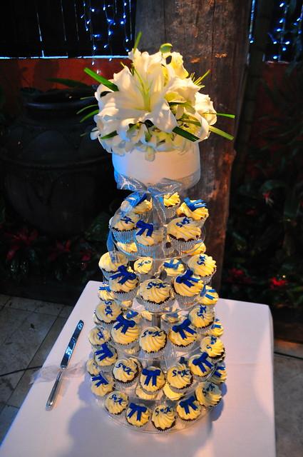 Royal blue and white wedding cupcake tower Choc vanilla and double choc mud