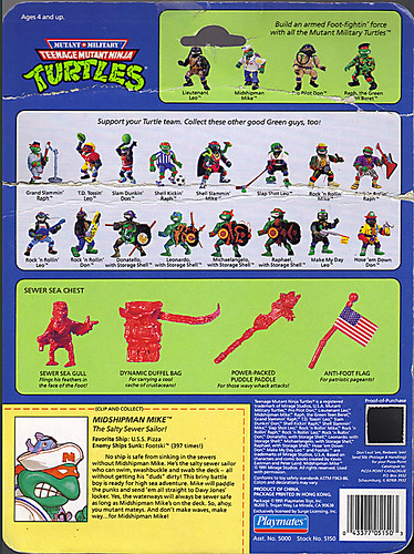 Mutant Military  TEENAGE MUTANT NINJA TURTLES ::  MIDSHIPMAN MIKE ..card backer ii (( 1991 ))