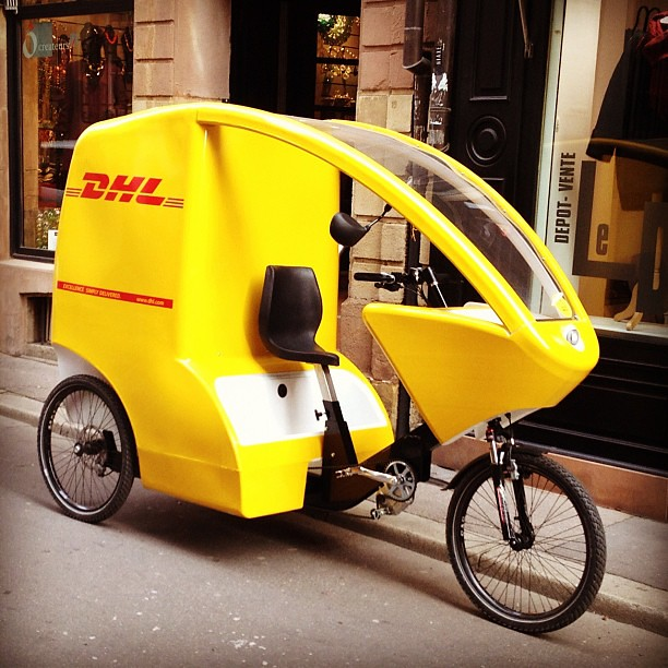 DHL bicycle rickshaw in Strasbourg
