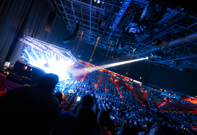 Interior of American Airlines Arena during a concert ...