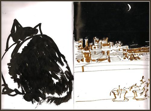 gato y perfil urbano