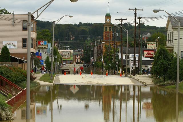 Route 96 through Owego flooded
