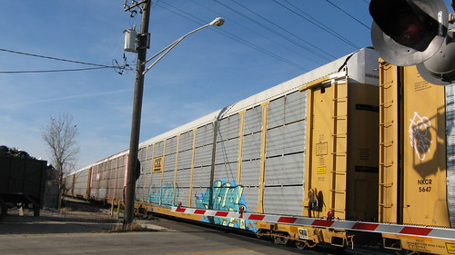 Westbound Auto Rack train.  Franklin Park Illinois USA. Saturday, November 5th, 2011. by Eddie from Chicago
