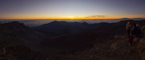 sunrise over Haleakala crater, Maui, Hawai'i (panorama, DRI)