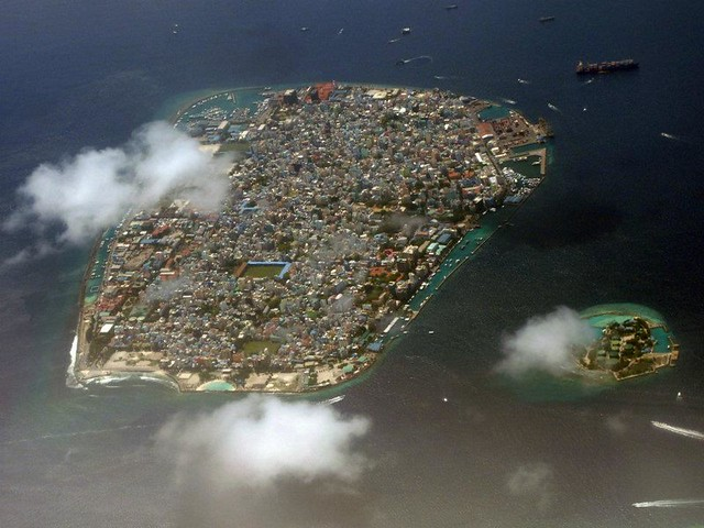 aerial photo of an island
