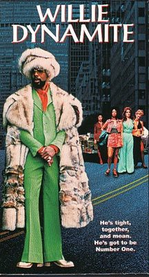 movie poster featuring a black man in a fur coat flanked by women called Willie Dynamite