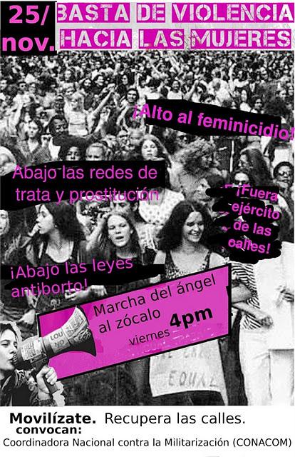Marcha del Ángel al Zócalo, 4pm. Basta de violencia hacia las mujeres