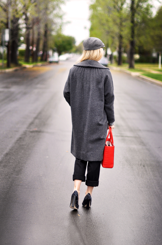 vintage gray coat - red tote bag -newsboy cap