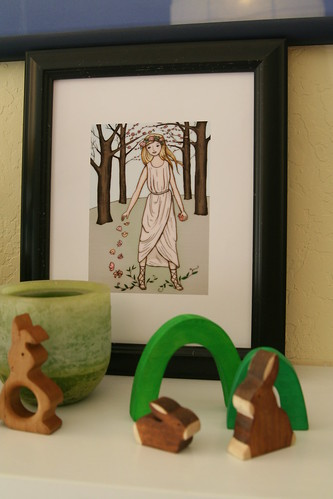 Easter Nature Table (Mantel) with Persephone