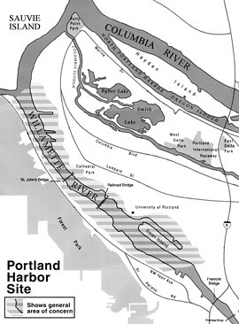 Portland Harbor Superfund Site map