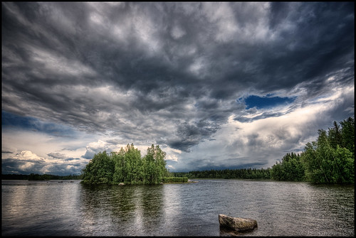trees sky lake water rock stone clouds forest island hdr 9ex1ev