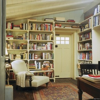 From Hodgepodge House {vintage rustic modern library}