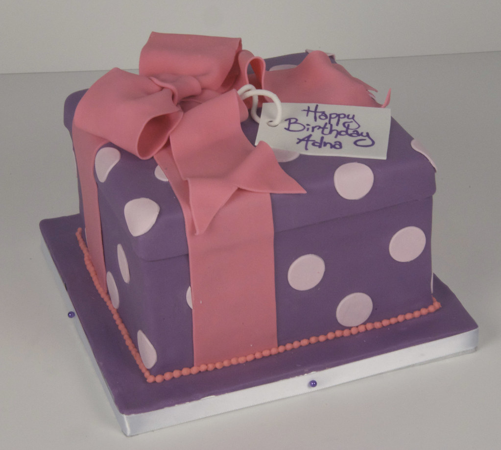 D7018 purple gift box cake a photo on flickriver d7018 purple gift box cake negle Image collections