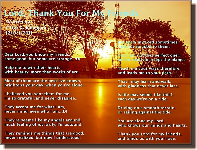 Lord, Thank You For My Friends   Flickr - Photo Sharing!