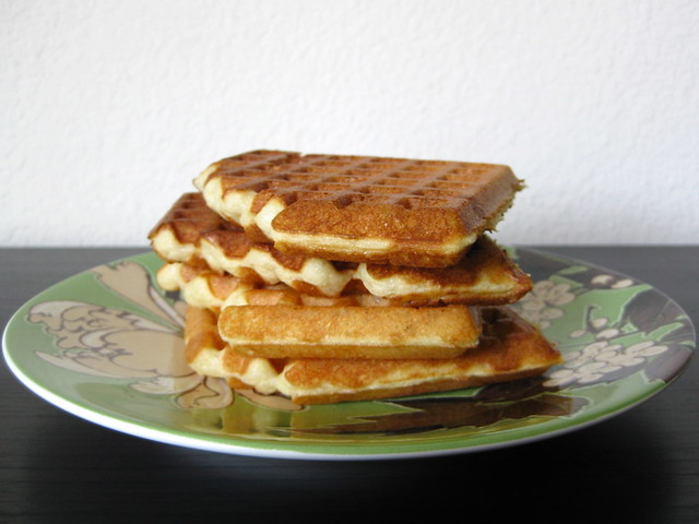stack of light, crispy waffles