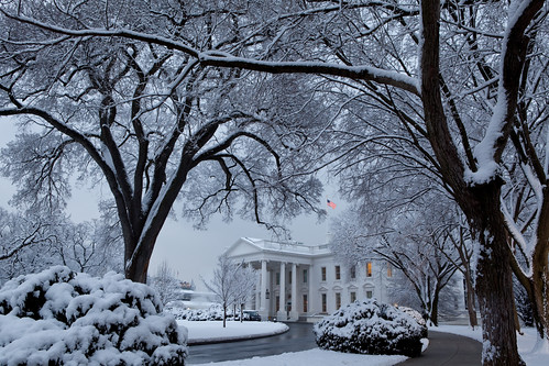 The White House blanketed in snow