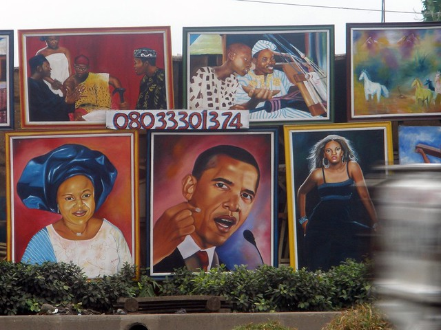 Paintings for sale by the road in Lagos