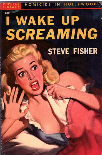 Old novel with picture of woman screaming