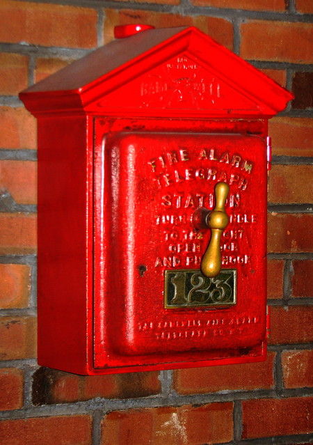 The old fire alarm telegraph station known as the fire box.
