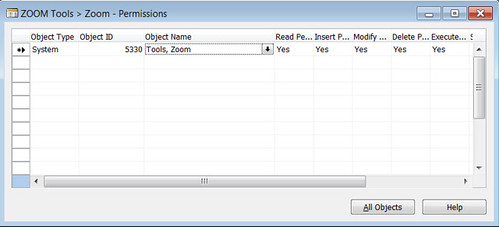 Tools Zoom - Create New Permission for System 5330