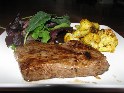 Steak, Salad, and Guy's Roasted Cauliflower