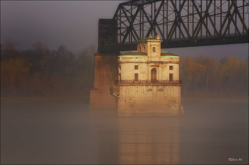 Chain of Rocks Water Intake Tower in the Fog