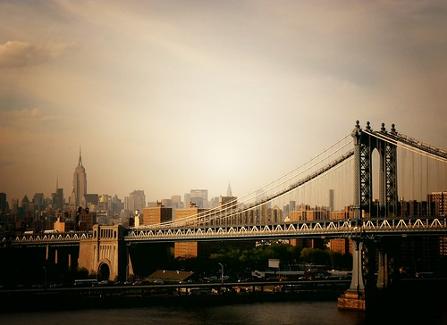 The Manhattan Bridge and the New York City Skyline