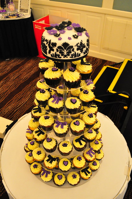 Black white and purple wedding cupcakes Double choc mud and white choc mud
