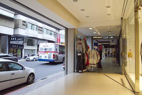 Sidewalk + shops + stuff