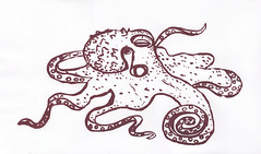 Giant Pacific octopus screenprint