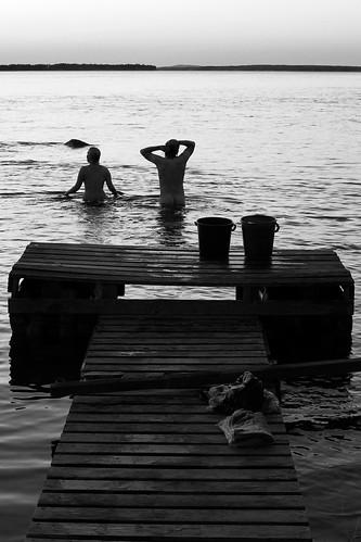 Summer night swimmers