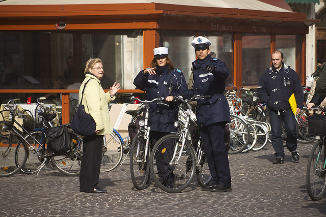 Police on Bicycles in Ferrara, Italy